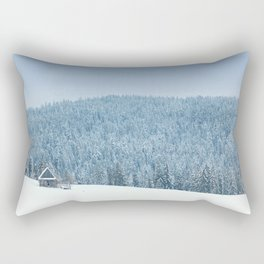 Winter scene - Small cabin in the woods Rectangular Pillow