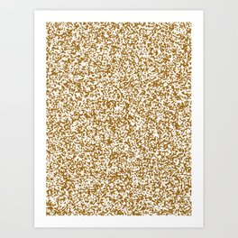 Tiny Spots - White and Golden Brown Art Print