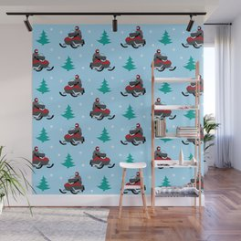Snowmobile Pattern (red) Wall Mural