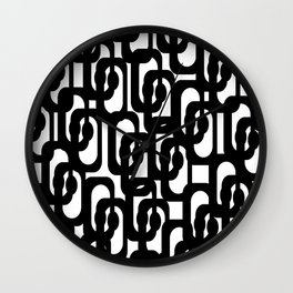 Black and White Mid-century Modern Loop Pattern Wall Clock