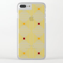 Yellow geo tiles Clear iPhone Case