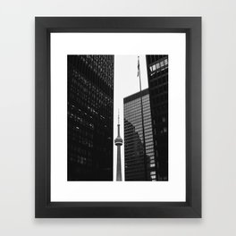CN Tower Between Buildings Framed Art Print