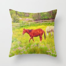 Horses Paradise Throw Pillow