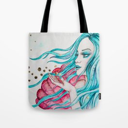 Watercolor mermaid fantasy art Tote Bag