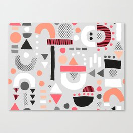 Tiny Inventor - Pink with Grey Canvas Print