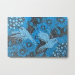 The Hummingbirds, Birds in Flower Garden, Wool Painting, Fiber Texture Metal Print