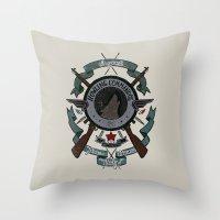 bucky barnes Throw Pillows featuring Sgt Bucky Barnes (blue) by emptystarships