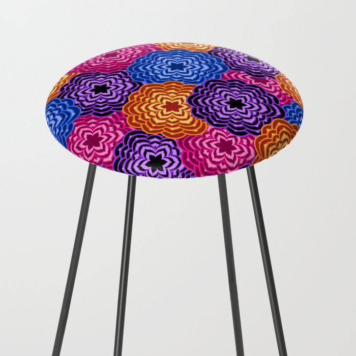 Dahlia Rainbow Multicolored Floral Abstract Pattern Counter Stool