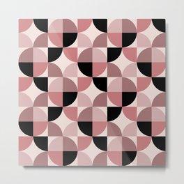 Mid Century Modern Geometric Pattern 335 Black Brown Dusty Rose and Beige Metal Print
