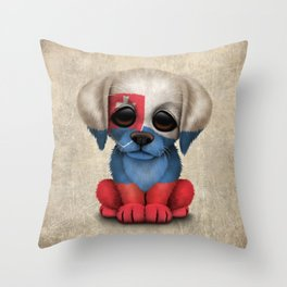 Cute Puppy Dog with flag of Slovakia Throw Pillow