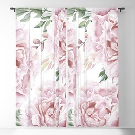 Pretty Pink Roses Floral Garden Blackout Curtain