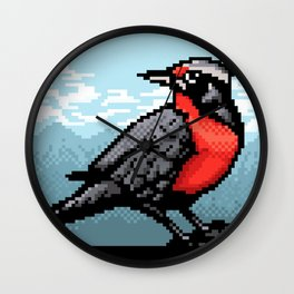 Loica bird PixelArt Wall Clock