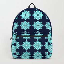 Blue starry snowflake with tribal patterns Backpack