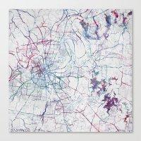 nashville Canvas Prints featuring Nashville by MapMapMaps.Watercolors