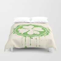 clover Duvet Covers featuring Patrick's clover by Sitchko Igor