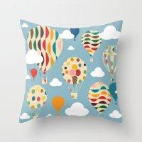 ballon Throw Pillows featuring hot air ballon by BruxaMagica