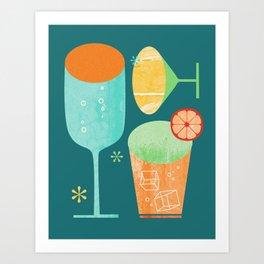 Pour & Drink (Blue) Kitchen or Bar Art Art Print