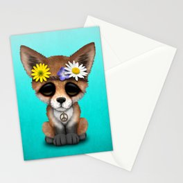 Cute Baby Fox Hippie Stationery Cards