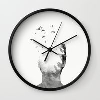 into the wild Wall Clocks featuring Wild by Lucas Costillas