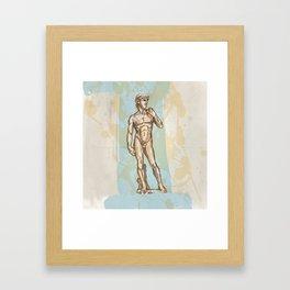 david statue of Michelangelo on blue background Framed Art Print
