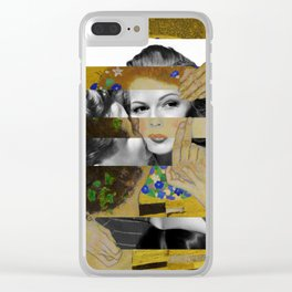 Klimt's The Kiss & Rita Hayworth with Glenn Ford Clear iPhone Case