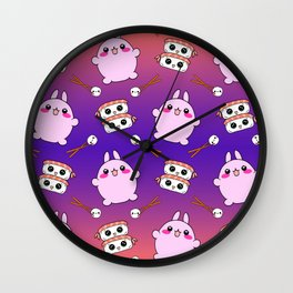 Cute funny Kawaii chibi little pink baby bunnies, happy sweet cheerful sushi with shrimp on top, rice balls and chopsticks colorful purple and orange pattern design. Wall Clock