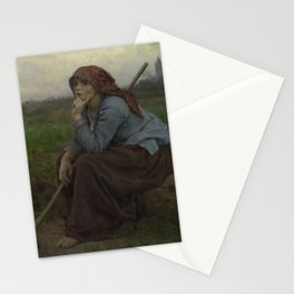 Jules Breton - Young Peasant Girl with a Hoe Stationery Cards