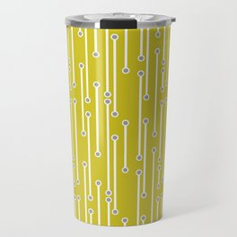 Dotted Lines in white and gray on mustard yellow Travel Mug