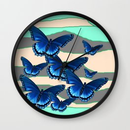 INDIGO BLUE BUTTERFLIES TURQUOISE SKIES Wall Clock