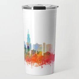 Chicago City Skyline Watercolor by zouzounioart Travel Mug