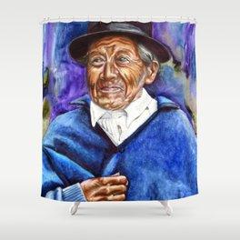 Man in Blue Shower Curtain