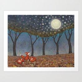 sleepy foxes Art Print