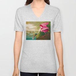 Roseate Spoonbill Bird pink Unisex V-Neck
