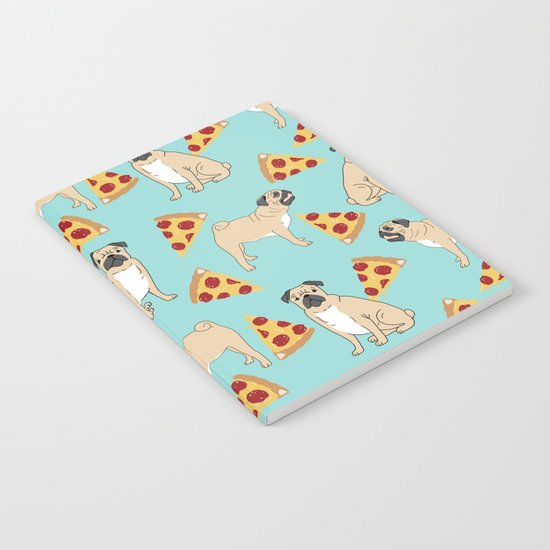 Pug Pizza Party cute pug dog owner gifts food pet gifts puggle puppy dog pet portrait trendy  Notebook