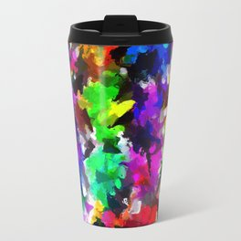 psychedelic splash painting abstract texture in pink blue green yellow red black Travel Mug