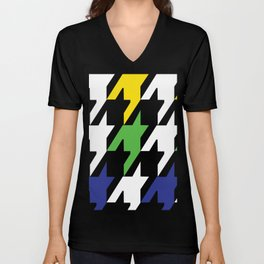 Jumbo Scale Masculine Colored Houndstooth Pattern Unisex V-Neck