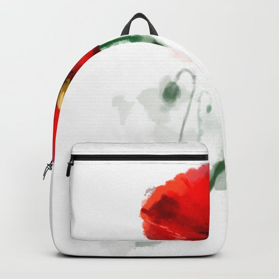 Red Poppy watercolor digital painting Backpack