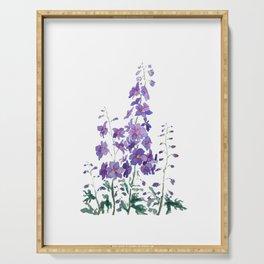 purple blue delphinium watercolor Serving Tray