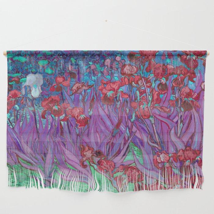 Vincent Van Gogh Irises Painting Cranberry Purple Palette Wall Hanging