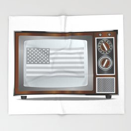 Patriotic Black And White Television Throw Blanket