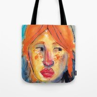 redhead Tote Bags featuring Redhead by Danilo Gonçalves