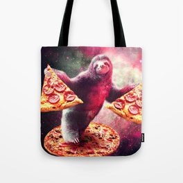 Funny Space Sloth With Pizza Tote Bag