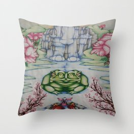 The Toad of Cherry Blossom River Throw Pillow