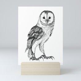 Barn Owl - Drawing In Black Pen Mini Art Print