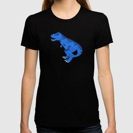 Blue T-Rex on Gray T-shirt