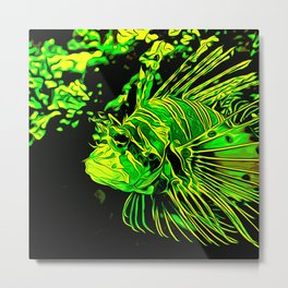 lionfish vector art green Metal Print