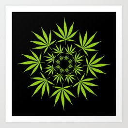 Cannabis Leaf Circle (Black) Art Print