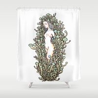 mushrooms Shower Curtains featuring Mushrooms by KuaKua's Nest