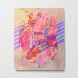 Boho Feather Zig Zag Collage   Watercolor Feather Art Print   Tan Pink Purple Metal Print
