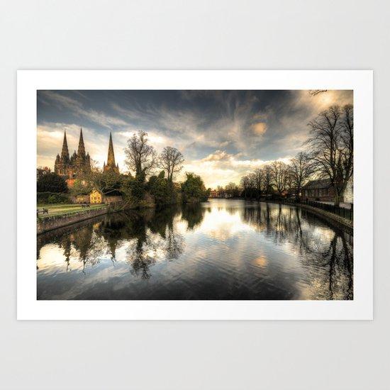 Reflections over Lichfield  Art Print
